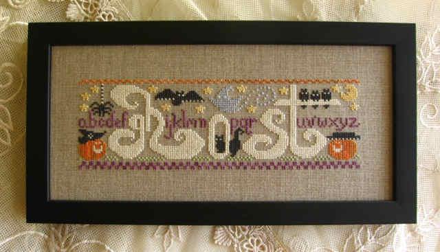 Primrose Needleworks - A Ghost's Alphabet - Cross Stitch Pattern-Primrose Needleworks, A Ghost's Alphabet,sampler, Halloween, Fall, pumpkins,bats, crows, witch's hat, stars, Cross Stitch Pattern