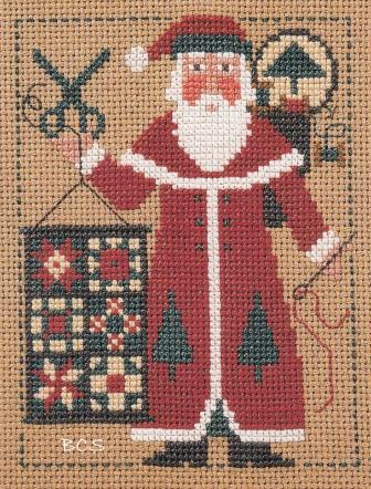 Prairie Schooler - 2005 Santa-Prairie Schooler, 2005 Santa, quilting Santa, scissors, sewing Santa, needle  thread, cross Stitch Pattern
