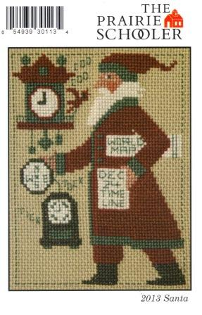 Prairie Schooler - 2013 Santa-Prairie Schooler,2013 Santa, Dec 24, santa claus, cuckcoo clock, world map, Cross Stitch Pattern
