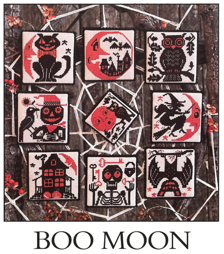 Prairie Schooler - Boo Moon-Prairie Schooler, Boo Moon, Halloween, skeleton, bat, haunted house, scarecrow, owl, moon, witch, black cat, ornaments, Cross Stitch Patterns