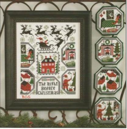 Prairie Schooler - The Night Before Christmas-Prairie Schooler, The Night Before Christmas, Christmas, Santa Claus, reindeer, rooftops, chimney, toys, sleeping, Cross Stitch Pattern