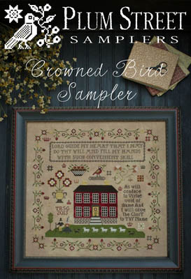 Plum Street Samplers - Crowned Bird Sampler - Cross Stitch Pattern-Plum Street Samplers, Crowned Bird Sampler, house, sampler,  prayers, God, virtues, goodwill, sheep, Cross Stitch Pattern