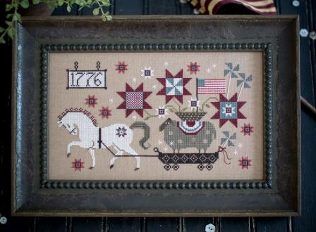 Plum Street Samplers - Summer Delivery-Plum Street Samplers - Summer Delivery, horse, USA, American flag, patriotic, cross stitch