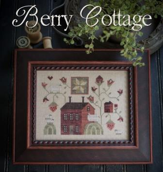 Plum Street Samplers - Berry Cottage-Plum Street Samplers - Berry Cottage, red house, farm country, primitive, cross stitch