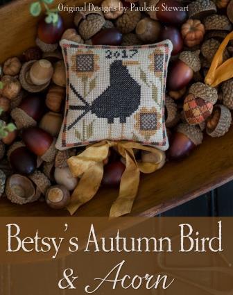 Plum Street Samplers - Betsy's Autumn Bird & Acorn-Plum Street Samplers - Betsys Autumn Bird  Acorn, crow, pin cushion, fall, acorns, bird, cross stitch