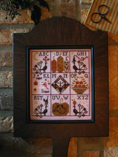 Plum Street Samplers - Halloween Hornbook Sampler - Cross Stitch Pattern
