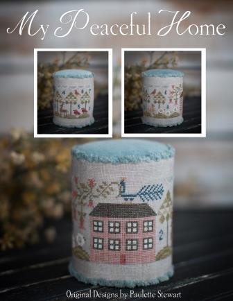Plum Street Samplers - My Peaceful Home-Plum Street Samplers - My Peaceful Home, drum, birds, sheep, peacock, rooftop, cross stitch