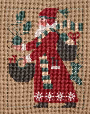 Prairie Schooler - 2007 Santa-Prairie Schooler, 2007 Santa, knitting Santa, yarn balls, mittens, knitted socks, knitting needles, Santas bag, Cross Stitch Pattern