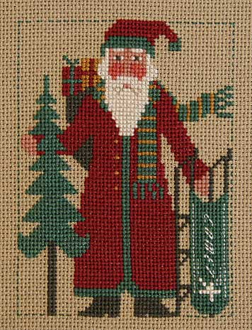 Prairie Schooler - 2008 Santa-Prairie Schooler, 2008 Santa, sledding Santa, Santa Claus, Christmas tree, bag of toys, Cross Stitch Pattern
