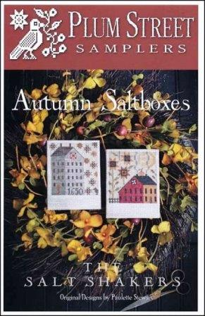 Plum Street Samplers - The Salt Shakers - Autumn Saltboxes-Plum Street Samplers - The Salt Shakers - Autumn Saltboxes, fall, polaroid pictures, houses, cross stitch