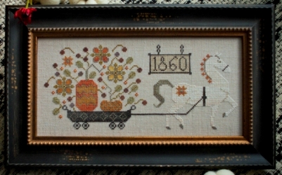 Plum Street Samplers - Harvest Delivery - Cross Stitch Pattern-Plum Street Samplers, Harvest Delivery, pumpkins, wag, horse drawn wagon, 1860 sampler, fall, Cross Stitch Pattern