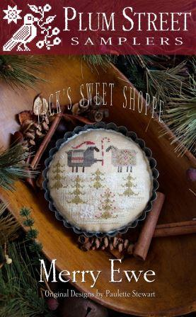 Plum Street Samplers - Jack's Sweet Shoppe - Merry Ewe-Plum Street Samplers - Jacks Sweet Shoppe - Merry Ewe, Sheep, Santa Sheep, Christmas, cross stitch, tart tins,