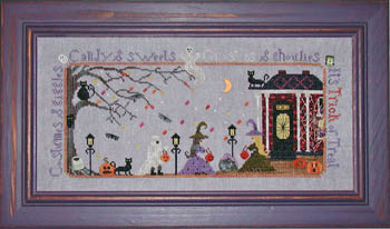 Praiseworthy Stitches - Trick or Treat - Cross Stitch Pattern-Praiseworthy Stitches,  Trick or Treat, Halloween, haunted house, halloween costumes, candy, Cross Stitch Pattern