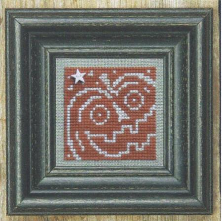 Bent Creek - Pumpkin + White - Cross Stitch Pattern-Bent Creek, Pumpkin + White, Halloween, fall, white star charm, carved pumpkin, scary pumpkin face, Cross Stitch Pattern
