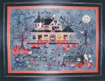 Praiseworthy Stitches - Seedy Pumpkin Cottage-Praiseworthy Stitches - Seedy Pumpkin Cottage, Halloween, haunted house, pumpkins, trick or treat, cross stitch,