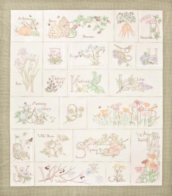 Crab-apple Hill - A Gardener's Alphabet - Quilt Block Assembly Pattern-Crab-apple Hill, A Gardener's Alphabet,embroidery, Quilt Block Assembly Pattern,
