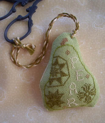 The Primitive Jewel - Quaker Pear Fob-The Primitive Jewel, Quaker Pear Fob, scissor fob, Cross Stitch Pattern