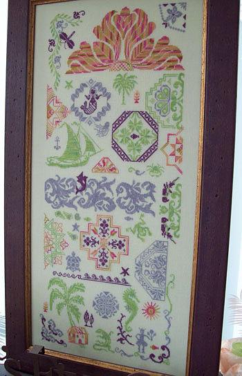 Michelle Ink Needlework Designs - Quaker Gone Tropic-Michelle, Ink, Needlework, Designs,Quaker, Gone, Tropic, Cross, Stitch, Pattern,Hawaiian, trees, palm trees, flowers, sailboat,