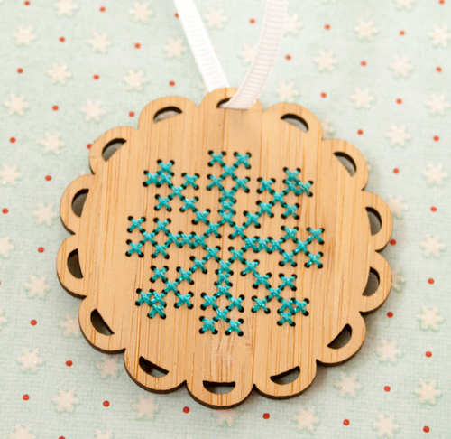 Red Gate Stitchery - Bamboo Snowflake Ornament Kit-Red Gate Stitchery, Bamboo Snowflake Ornament Kit, cross stitch kit, winter, ornament, Christmas tree,