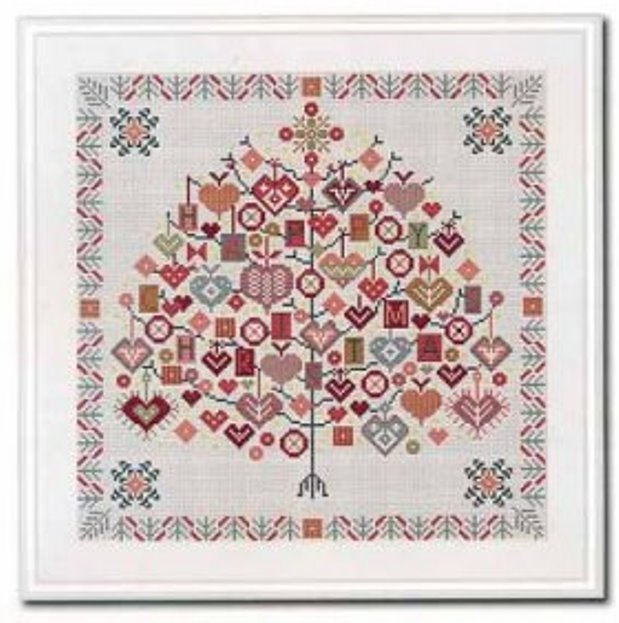 Riverdrift House - Happy Christmas Tree 🎄-Riverdrift House - Happy Christmas Tree, hearts, gifts, cross stitch