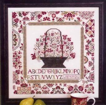 Rosewood Manor - Cornwall Cottage Sampler - Cross Stitch Pattern-Rosewood Manor,  Cornwall Cottage Sampler, Beach Cottage Stitchers, flowers, quaker basket, sampler, Cross Stitch Pattern