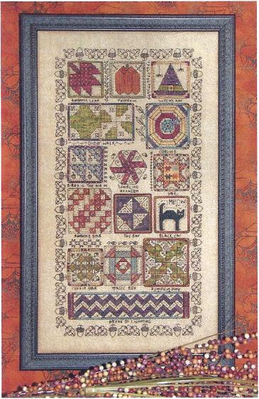 Rosewood Manor - Halloween Quilt Sampler - Cross Stitch Pattern with Charm-Rosewood Manor, Halloween Quilt Sampler, acorns, pupmkin, witch hat, spiders, spider web, quilts, fall, black cat,  Cross Stitch Pattern with Charm