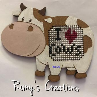 Romy's Creations - Cow Needle Nanny-Romys Creations - Cow Needle Nanny, cows, needle keeper, needles, cross stitch, magnets,