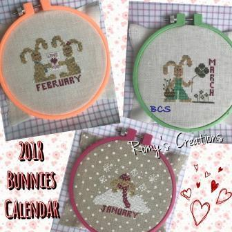 Romy's Creations - 2018 Bunnies Calendar-Romys Creations - 2018 Bunnies Calendar, year long, once a month, hoops, cross stitch,