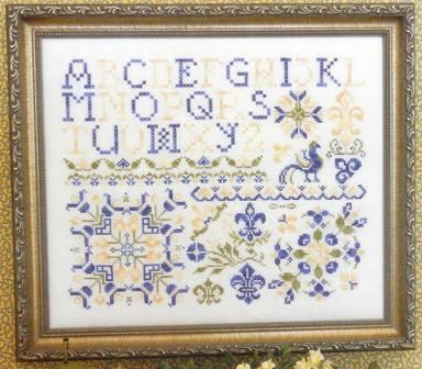 Rosewood Manor - French Country Sampler - Cross Stitch Pattern-French Country Sampler, Rosewood Manor, blue & yellow, peacock, French Country Sampler, Cross Stitch Pattern