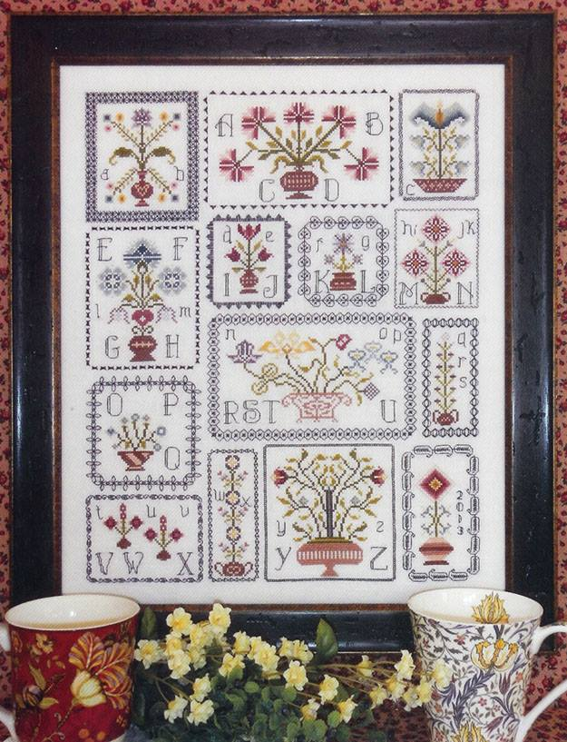 Rosewood Manor - Pots of Flowers - Cross Stitch Patterns-Rosewood Manor, Pots of Flowers, spring flowers, topiary pots, samplers, Cross Stitch Patterns