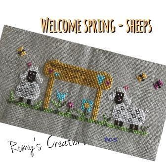 Romy's Creations - Welcome Spring - Sheep-Romys Creations - Welcome Spring - Sheep, lamb, sheep, spring, flowers, cross stitch