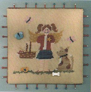 Raise the Roof Designs - July's Angel-Raise the Roof Designs, Julys Angel,girl, dog, butterfly, girl and dog at a picnic,  Cross Stitch Pattern