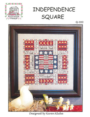 Rosewood Manor - Independence Square - Cross Stitch Chart-Rosewood Manor, Independence Square, USA, American, patriotic square,  Cross Stitch Chart