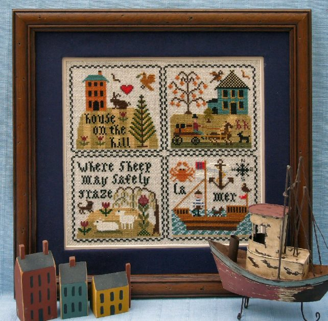 The Sampler Company - Sampler Musings-The Sampler Company - Sampler Musings, houses, sheep, boats, cross stitch