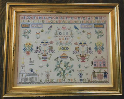 Samplers Remembered - Anna Greta Danielsdotter-Samplers Remembered - Anna Greta Danielsdotter, Swedish sampler, historic, young girl, family, cross stitch