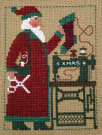 Prairie Schooler - 2006 Santa-Prairie Schooler, 2006 Santa, sewing Santa claus, sewing machine, Christmas stocking, scissors, Cross Stitch Pattern