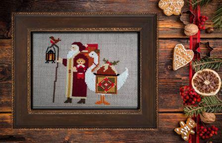 Twin Peak Primitives - Santa's 2019 Trilogy III-Twin Peak Primitives - Santas 2019 Trilogy III, Christmas, Santa Claus, goose, gifts, cross stitch