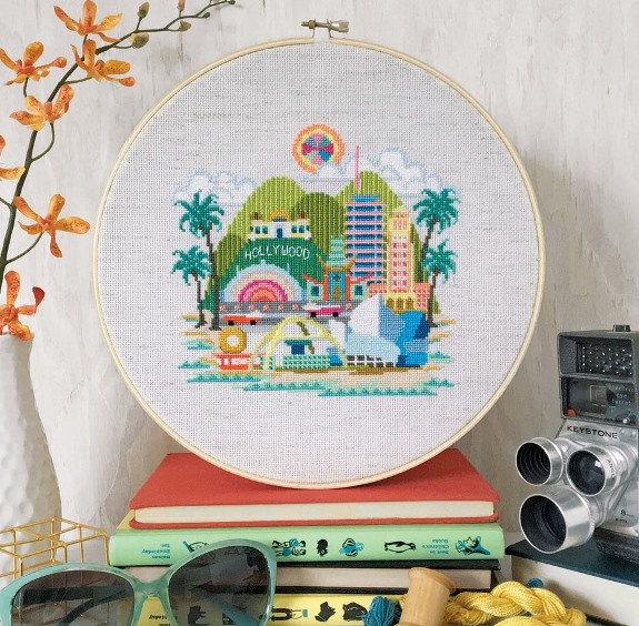 Satsuma Street - Pretty Little Los Angeles-Satsuma Street - Pretty Little Los Angeles, LA, sunshine, Disneyland, Hollywood, palm trees, ocean, freeways, beach, cross stitch, city,
