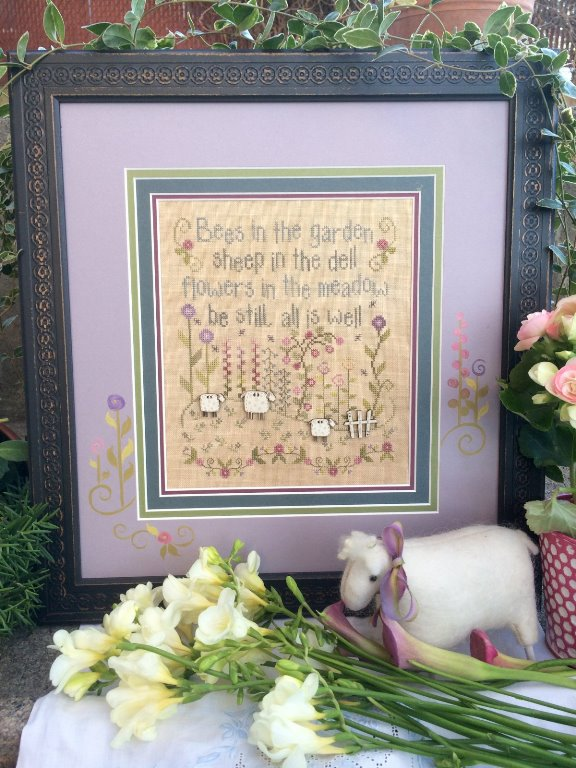 Shepherd's Bush - All Is Well-Shepherds Bush - All Is Well, sheep, picket fence,spring, peace, calm, cross stitch
