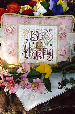 Shepherd's Bush - Be Happy-Shepherds Bush, Be Happy, bee hive, bees, flowers, beattitudes, Cross Stitch Pattern