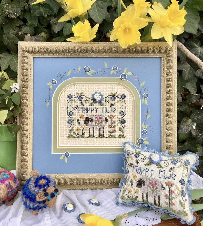 Shepherd's Bush - Happy Ewe - Free Chart with purchase of Blue Flower Button-Shepherds Bush - Happy Ewe - Free Chart with purchase of Blue Flower Button, sheep, flowers, happiness, cross stitch
