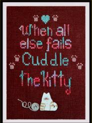 The Stitching Bear - Cuddle the Kitty - Cross Stitch Pattern-The Stitching Bear, Cuddle the Kitty,cat, yarn ball, paw prints,  Cross Stitch Pattern