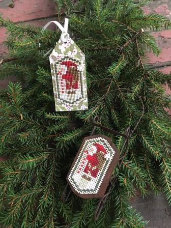 Shepherd's Bush - Santa Sled Kit-Shepherds Bush - Santa Sled Kit, ornament, Santa Claus, sled ornament, gift tag, cross stitch, perforated paper,