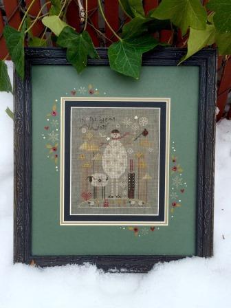 Shepherd's Bush - Slate Snowman Kit-Shepherds Bush - Slate Snowman Kit, snowman, sheep, winter, snow, cross stitch