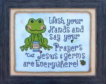 The Stitching Bear - Wash & Pray - Cross Stitch Pattern-The Stitching Bear, Wash & Pray, children, reminder, hand washing, pray always, bathroom sign, Cross Stitch Pattern