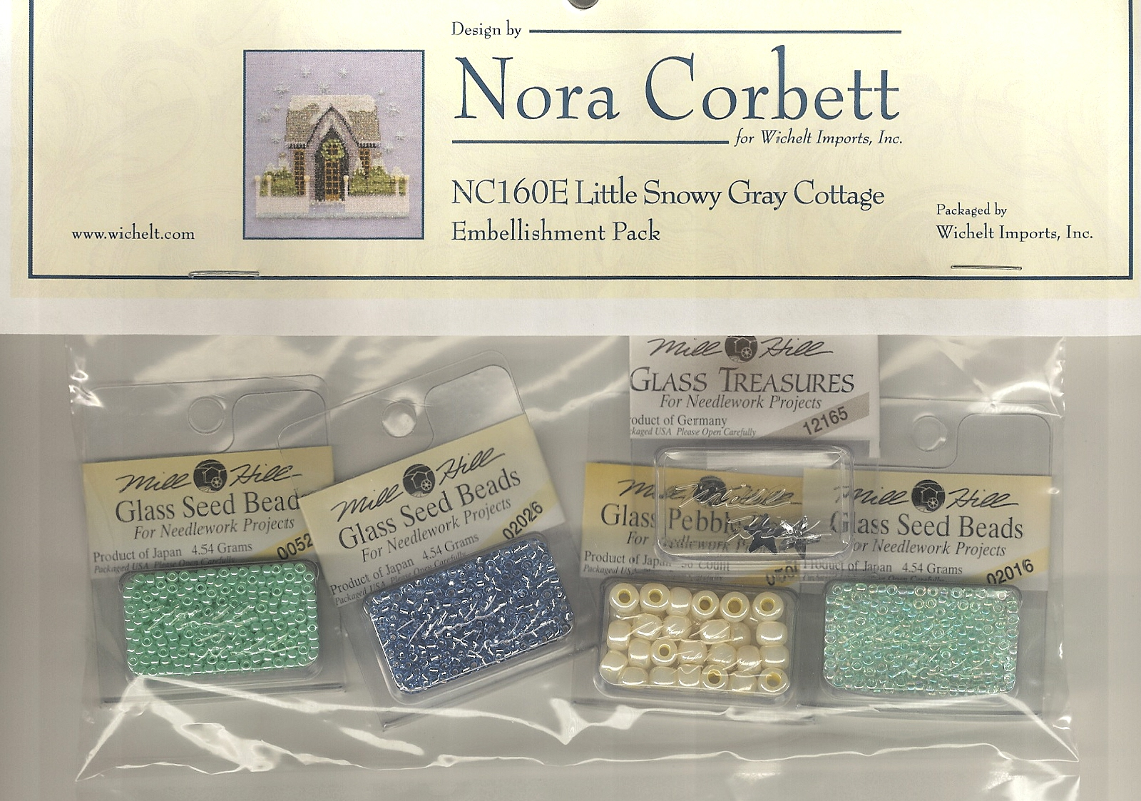 Mill Hill - Nora Corbett - Snow Globe Village Series Embellishment Pack for Little Snowy Gray Cottage-Mill Hill, Nora Corbett Snow Globe Village Series Embellishment Pack Little Snowy Gray Cottage beads NC160e