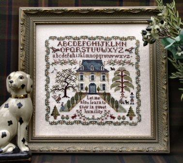 The Sampler Company - Sweet Humility Sampler-The Sampler Company - Sweet Humility Sampler, house, willow tree, family, cross stitch