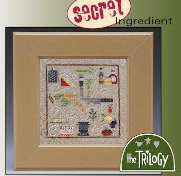 The Trilogy - Secret Ingredient - Cross Stitch Kit-The Trilogy, Secret Ingredient, cooking, measuring, bbq, cutlery, carrots, stew, aroma, onions, tomato,kitchen, pot,   Cross Stitch Kit