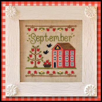 Country Cottage Needleworks - Cottage of the Month 09 - September Cottage - Cross Stitch Pattern-Country Cottage Needleworks, Cottage of the Month 09, September Cottage, schoolhouse, apples. crows, fall, children,teachers, trees, playground, needlework chart, Cross Stitch Pattern