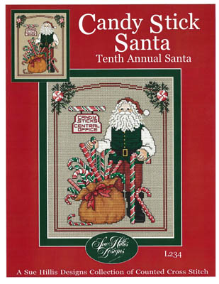 Sue Hillis Designs - Annual Santa - Candy Stick Santa-Sue Hillis Designs, Candy Stick Santa, Santa Claus, Candy Canes, Christmas, Christmas gifts, Cross Stitch Pattern